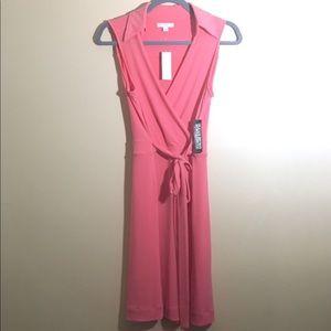 NY & Co Pink Wrap Tie Dress Size M